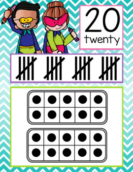 SUPER kids - Number Line Banner, 0 to 20, Illustrated, ten frames, tally marks