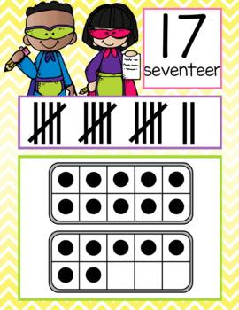 SUPER kids - Number Line Banner, 0 to 20, Illustrated, ten frames, tally marks
