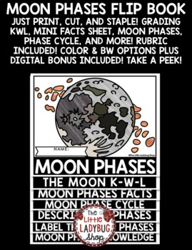 Moon Phases Activity Flip Book [Lunar Cycle Phases of the Moon Science Lesson]