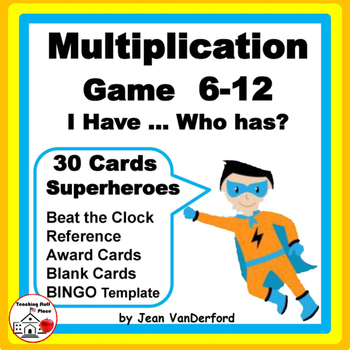 SUPERHERO MULTIPLICATION | Game | I have... Who has? |Grade 3 MATH CORE