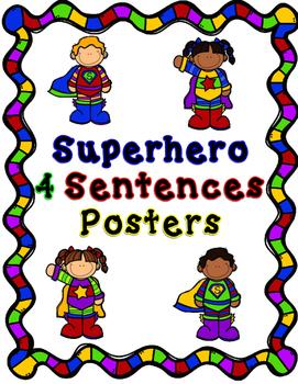SUPERHERO 4 sentence posters
