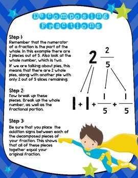 SUPERHERO Adding and Decomposing Fraction Task Cards (24 Cards)- Grades 3, 4, 5
