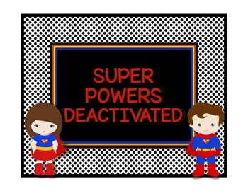 Superhero Theme Behavior Chart in Black