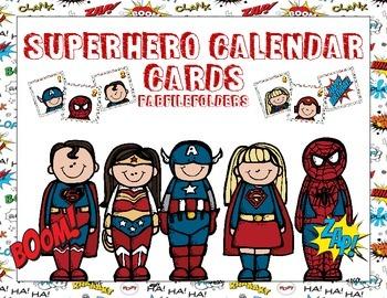 SUPERHERO CALENDAR CARDS