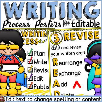 SUPERHERO CLASS DECOR: EDITABLE WRITING PROCESS POSTERS