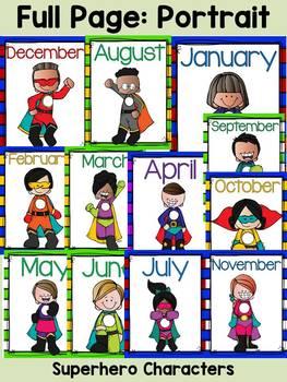SUPERHERO CLASS DECOR: MONTHS OF THE YEAR