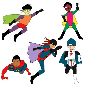 SUPERHERO CLIP ART MEGA BUNDLE * COLOR AND BLACK AND WHITE