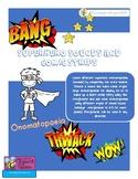 SUPERHERO COMIC ONOMATOPOEIAS WORD SEARCH AND COMIC STRIPS