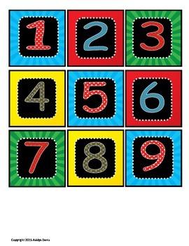 SUPERHERO Classroom Calendar Numbers
