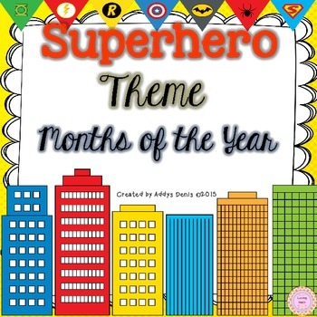 SUPERHERO Calendar Months of the Year
