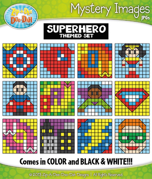 SUPERHERO Mystery Images Clipart {Zip-A-Dee-Doo-Dah Designs}