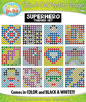 SUPERHERO Dab-A-Dot Mystery Images Clipart {Zip-A-Dee-Doo-Dah Designs}
