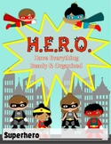 SUPERHERO H.E.R.O Binder Covers + Subject Area Binder Covers