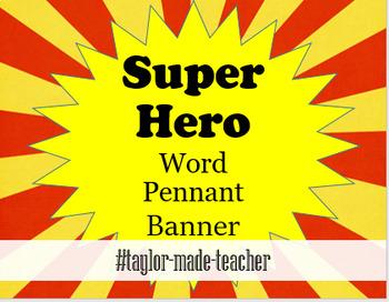 SUPERHERO, MARVEL word/name Pennant Banner {Editable PPT Template}