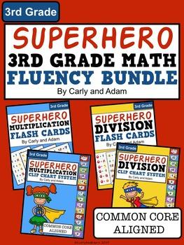 SUPERHERO 3rd Grade Math Fact Fluency Bundle