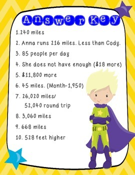 SUPERHERO Multi-Step, Multi-Operational Word Problem Task Cards- Grades 3, 4, 5