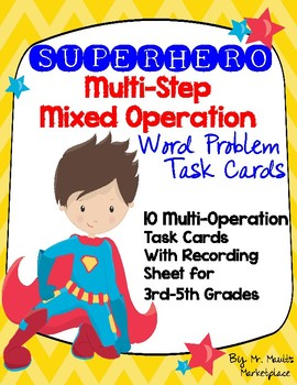 SUPERHERO Multi-Step, Multi-Operational Word Problem Task Cards- KILOMETRES