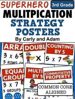 SUPERHERO Multiplication Strategies Posters - 3rd Grade