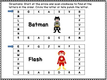 SUPERHERO NAME LETTER RECOGNITION CARDS: hole punch or writing