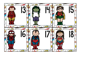 SUPERHERO NUMBER CARDS