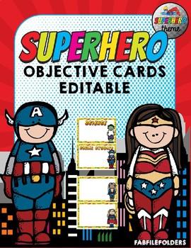 EDITABLE SUPERHERO OBJECTIVE CARDS