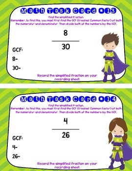 SUPERHERO Simplifying Fractions Task Cards (Pack of 24 Cards)- Grades 3, 4, 5