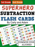 SUPERHERO Subtraction Flash Cards