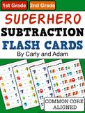 SUPERHERO Subtraction Flash Cards