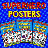 BRIGHT SUPERHERO CLASSROOM THEME DECOR POSTERS BUNDLE