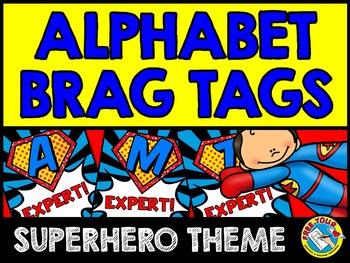 SUPERHERO THEME ALPHABET BRAG TAGS KINDERGARTEN (BACK TO SCHOOL ACTIVITY PREK)