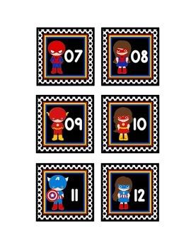 "SUPERHERO THEME CALENDAR NUMBERS IN BLACK (2.5""X2.5"")"