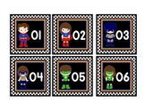 "SUPERHERO THEME CALENDAR NUMBERS IN BLACK (3""X3"")"