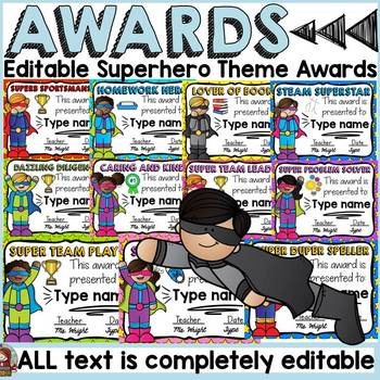 SUPERHERO THEME: EDITABLE AWARDS