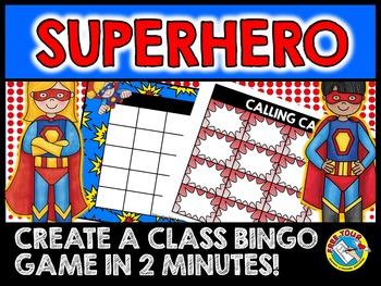 BACK TO SCHOOL SUPERHERO ACTIVITIES (SUPERHERO THEME EDITABLE SIGHT WORDS BINGO)