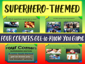 SUPERHERO-THEMED Elementary Grades Ice Breaker FOUR CORNERS get-to-know-you game