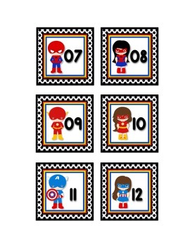 "SUPERHERO THEME CALENDAR NUMBERS IN WHITE (2.5""X2.5"")"