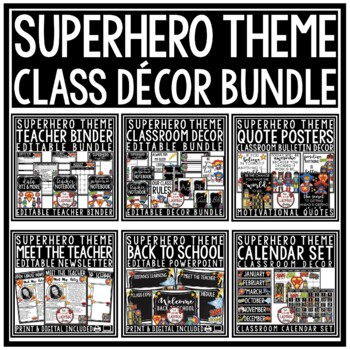 Superhero Theme Classroom Decor Editable Bundle- Superhero Classroom Theme