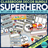 SUPERHEROES THEME Classroom Decor - EDITABLE Clutter-Free Classroom Decor BUNDLE