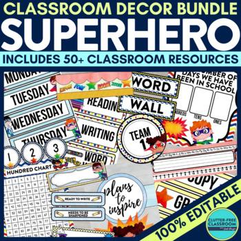 SUPERHEROES THEME Classroom Decor - EDITABLE Clutter-Free
