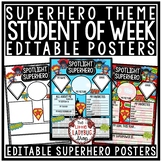 Back to School Superhero Theme- Student Of The Week Poster [Editable]