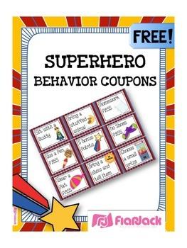 SUPERHERO Themed Behavior Reward Coupons FREEBIE