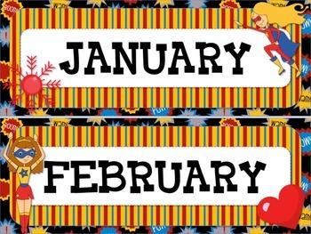 SUPERHERO Themed Calendar Display Set