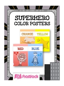 SUPERHERO Themed Color Cards Posters