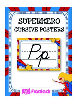 SUPERHERO Themed Cursive Alphabet Posters