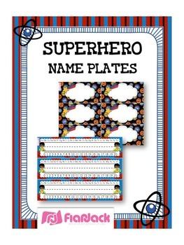SUPERHERO Themed Name Tags Plates