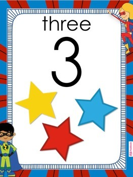 SUPERHERO Themed Number Posters 0 to 20