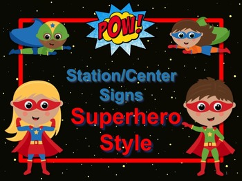 SUPERHERO Themed Station/Center Signs Great Classroom Management!