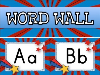SUPERHERO Themed Word Wall Alphabet