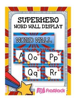 SUPERHERO Themed Word Wall Alphabet