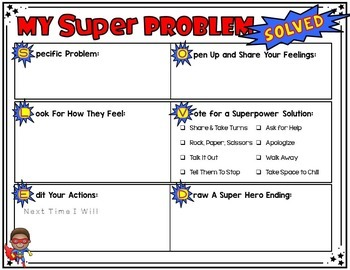 Friendship Problem Solving is My Superpower: Solution Focused Worksheets